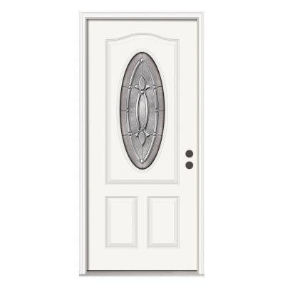 32 in. x 80 in. Winslow 3/4 Lite Primed Premium Steel Prehung Front Door with Brickmould