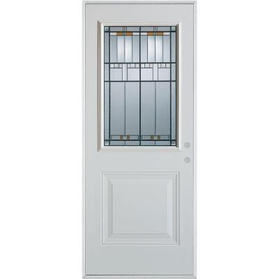 36 in. x 80 in. Architectural 1/2 Lite 1-Panel Prefinished White Steel Prehung Front Door