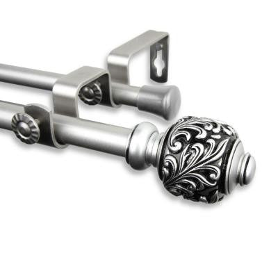84 in. - 120 in. Telescoping 5/8 in. Double Curtain Rod Kit in Satin Nickel with Tilly Finial