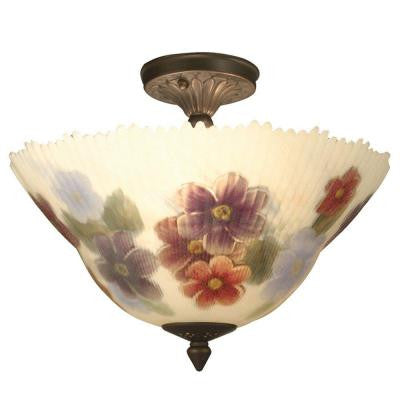 Pansy 3-Light Antique Brass Semi Flush Mount