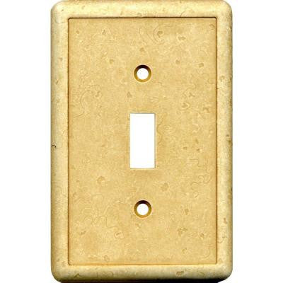 1 Gang Toggle Cast Stone Wall Plate - Gold