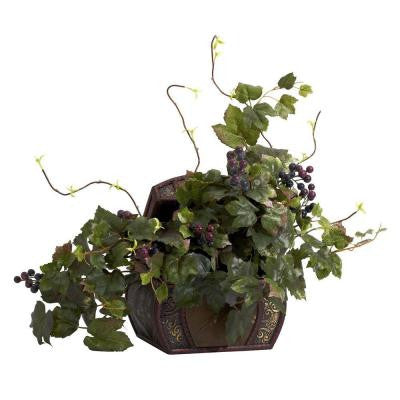 20 in. H Green Grape Leaf and Chest Silk Plant