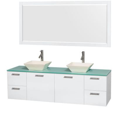 Amare 72 in. Double Vanity in Glossy White with Glass Vanity Top in Green, Porcelain Sinks and 70 in. Mirror