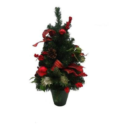 24 in. Unlit Holly Traditions Potted Artificial Christmas Tree