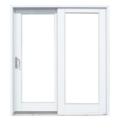 59-1/4 in. x 79-1/2 in. Composite White Left-Hand Woodgrain Interior DP50 Sliding Patio Door