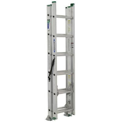 16 ft. Aluminum 3 Section Compact Extension Ladder with 225 lb. Load Capacity Type II Duty Rating
