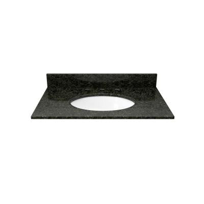 25 in. Granite Vanity Top in Uba Tuba with White Basin