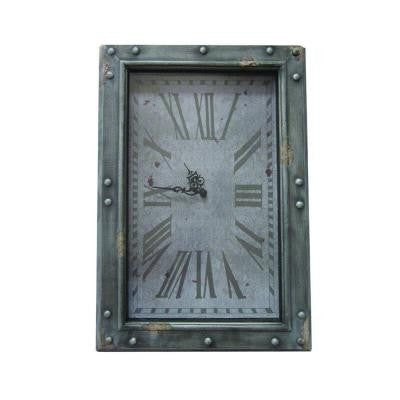 18 in. x 25.5 in. Rectangular Iron Wall Clock in Gray Iron Frame