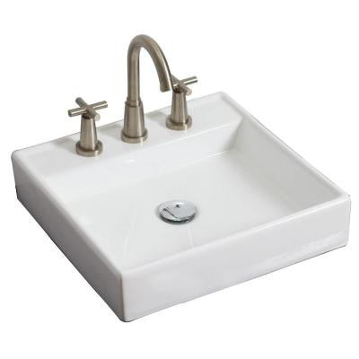 17.5-in. W x 17.5-in. D Above Counter Square Vessel Sink In White Color For 8-in. o.c. Faucet