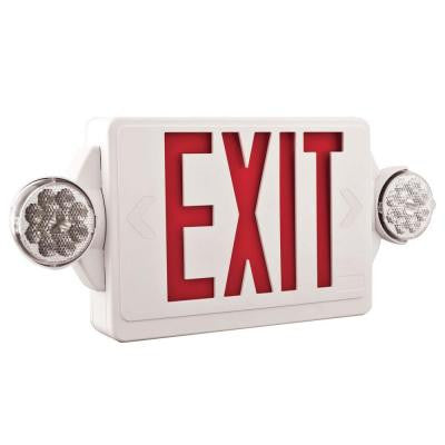 2-Light Plastic LED White Exit Sign/Emergency Combo with LED Heads and Red Stencil