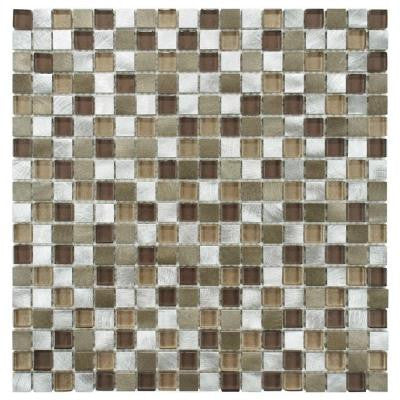 Fusion Mini Champagne 12 in. x 12 in. x 6 mm Brushed Aluminum and Glass Mosaic Wall Tile