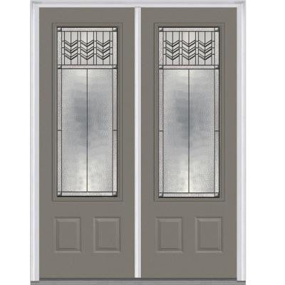 72 in. x 96 in. Prairie Bevel Decorative Glass 3/4-Lite Painted Fiberglass Smooth Double Prehung Front Door