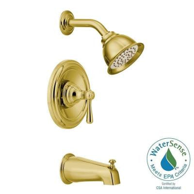 Kingsley Posi-Temp 1-Handle Tub and Shower Trim Kit in Polished Brass (Valve Sold Separately)