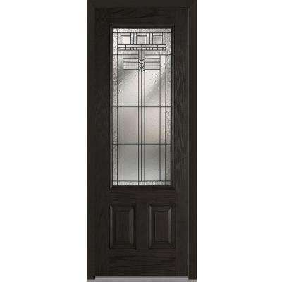 36 in. x 96 in. Oak Park Decorative Glass 3/4-Lite Finished Oak Fiberglass Prehung Front Door