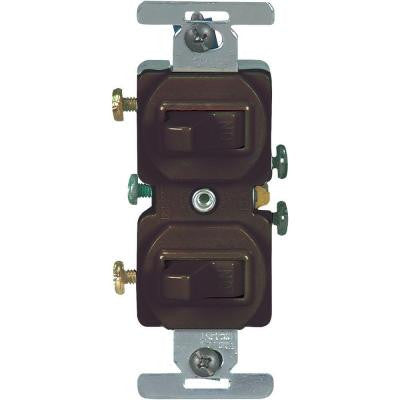 15 Amp Commercial Grade Toggle Duplex Switch - Brown