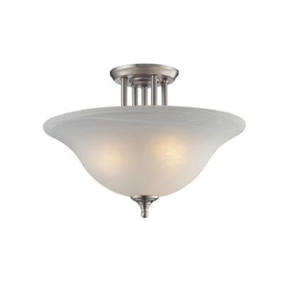 Lawrence 3-Light Brushed Nickel Incandescent Ceiling Semi-Flush Mount Light