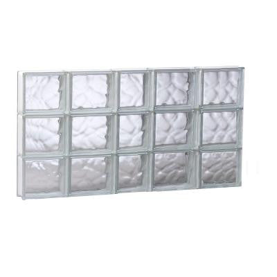 36.75 in. x 17.25 in. x 3.125 in. Non-Vented Wave Pattern Glass Block Window
