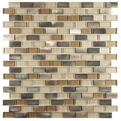 Fusion Mini Subway Amador 11-1/4 in. x 12 in. x 6 mm Brushed Aluminum and Glass Mosaic Wall Tile