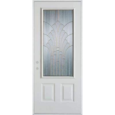 36 in. x 80 in. Art Deco 3/4 Lite 2-Panel Prefinished White Steel Prehung Front Door