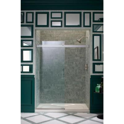 Levity 59-5/8 in. x 74 in. Heavy Semi-Framed Sliding Shower Door with Crystal Clear Glass in Nickel