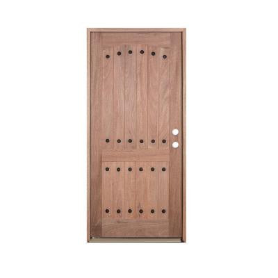 36 in. x 80 in. V-Groove 2-Panel Rustic Unfinished Mahogany Left-Hand Solid Wood Prehung Front Door