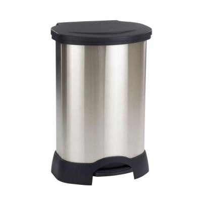 30 Gal. Black/Stainless Steel Step-On Trash Can