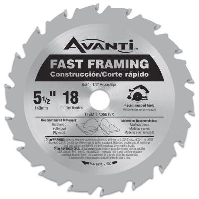 5-1/2 in. x 18-Tooth Fast Finish Saw Blade