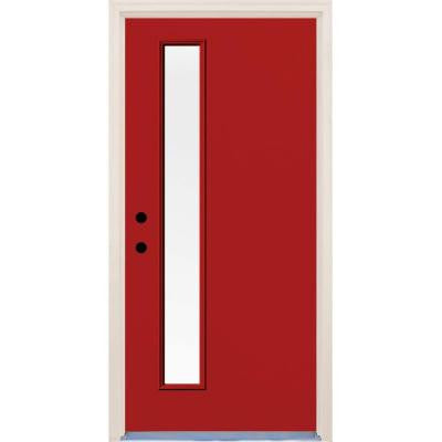 36 in. x 80 in. Engine 1 Lite Clear Glass Painted Fiberglass Prehung Front Door with Brickmould