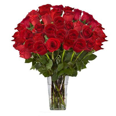 Gorgeous Red Rose Bouquet in Clear Vase (36 Stem) Overnight Shipping Included