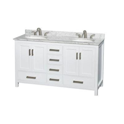Sheffield 60 in. Double Vanity in White with Marble Vanity Top in Carrara White
