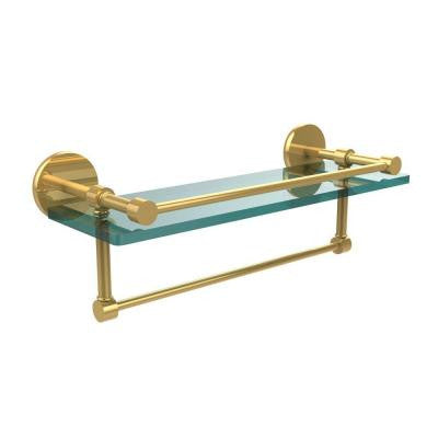 16 in. W Gallery Glass Shelf with Towel Bar in Polished Brass