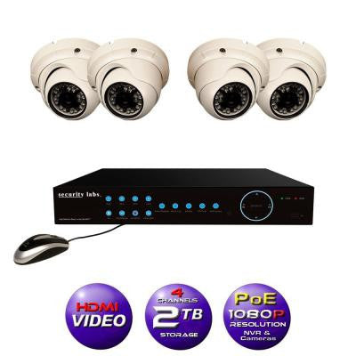 4CH High Definition 1080P IP POE-NVR Surveillance System with 2TB Hard Drive, 4 Weather Resistant Dome Cameras and Apps