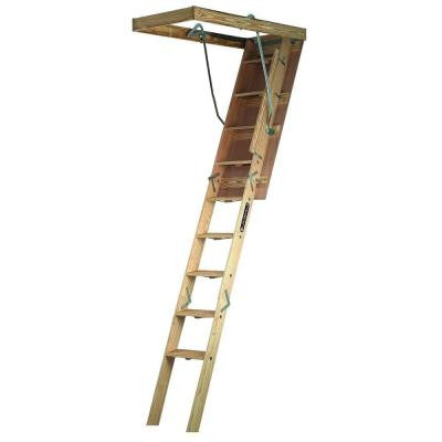 Champion Series 7 ft. - 8 ft. 9 in., 22.5 in. x 54 in. Wood Attic Ladder with 300 lbs. Maximum Load Capacity