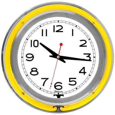 3 in. x 14 in. Yellow Double Ring Neon Clock