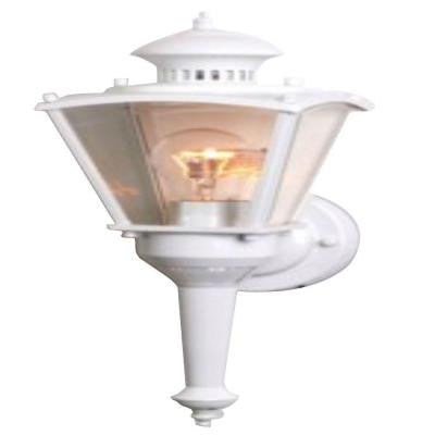 16 in. White Motion Activated Outdoor Beveled Glass Coach Lantern