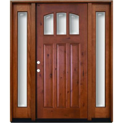 64 in. x 80 in. Craftsman 3 Lite Arch Stained Knotty Alder Wood Prehung Front Door with Sidelites