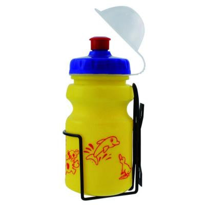 12 oz. Yellow Children's Bicycle Water Bottle and Cage Set