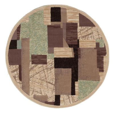 Modesto Collage Beige 5 ft. 3 in. Round Area Rug