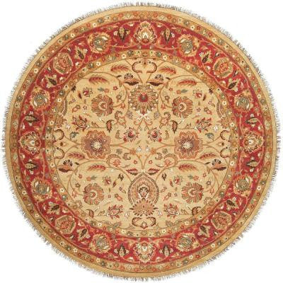 Rajbari Red 8 ft. Round Area Rug