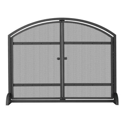 1-Panel Arch Top Black Wrought Iron Fireplace Screen with Doors