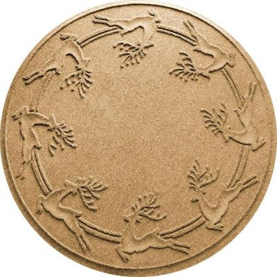 Gold 35 in. Round Reindeer Run Under the Tree Mat