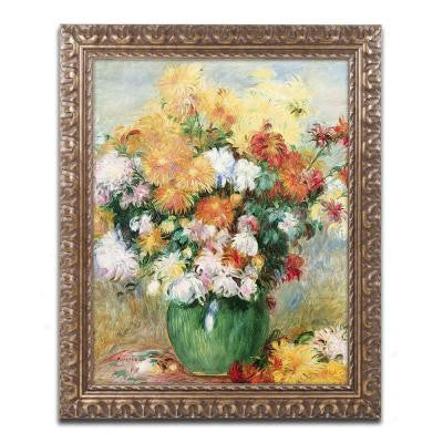 "20 in. x 16 in. ""Bouquet of Chrysanthemums"" by Pierre-Auguste Renoir Framed Printed Canvas Wall Art"