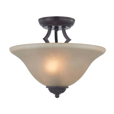 Kingston 2-Light Oil-Rubbed Bronze Ceiling Semi-Flush Mount Light