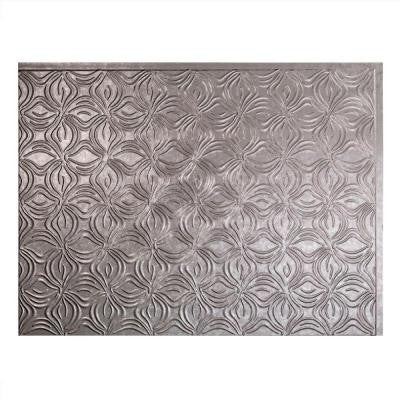 24 in. x 18 in. Lotus PVC Decorative Tile Backsplash in Galvanized Steel