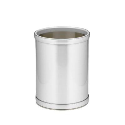 10 in. Brushed Chrome Round Mylar Trash Can