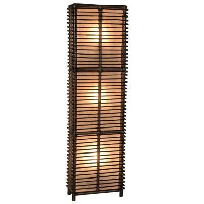 Meridian 65 in. Espresso Wide Floor Lamp with a Zen Inspired Woven Design