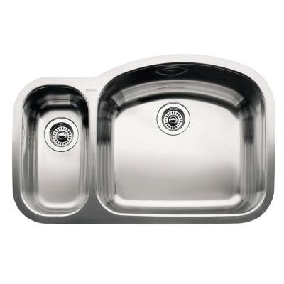 Wave Undermount Stainless Steel 32 in. 1-1/2 Reverse Double Bowl Kitchen Sink