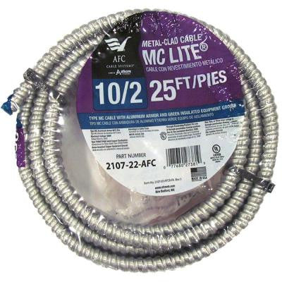 25 ft. 10-2 Solid MC Lite Cable
