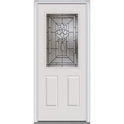 34 in. x 80 in. Fontainebleau Decorative Glass 1/2 Lite 2-Panel Primed White Majestic Steel Prehung Front Door