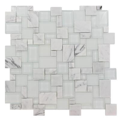 Tetris Carrera Ice Parisian Pattern 12 in. x 12 in. x 8 mm Glass Mosaic Floor and Wall Tile